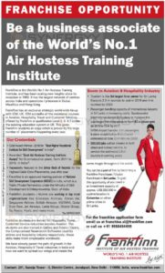 Be a business associate of the World's No.l Air Hostess Training Institute