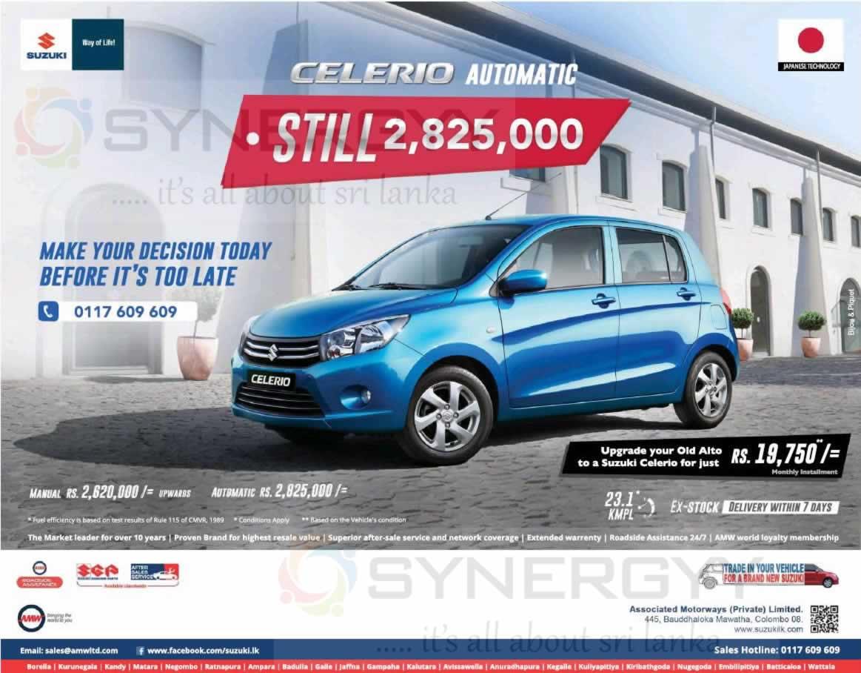 Brand New Suzuki Celerio For Rs 2 620 000 From Amw 171 Synergyy