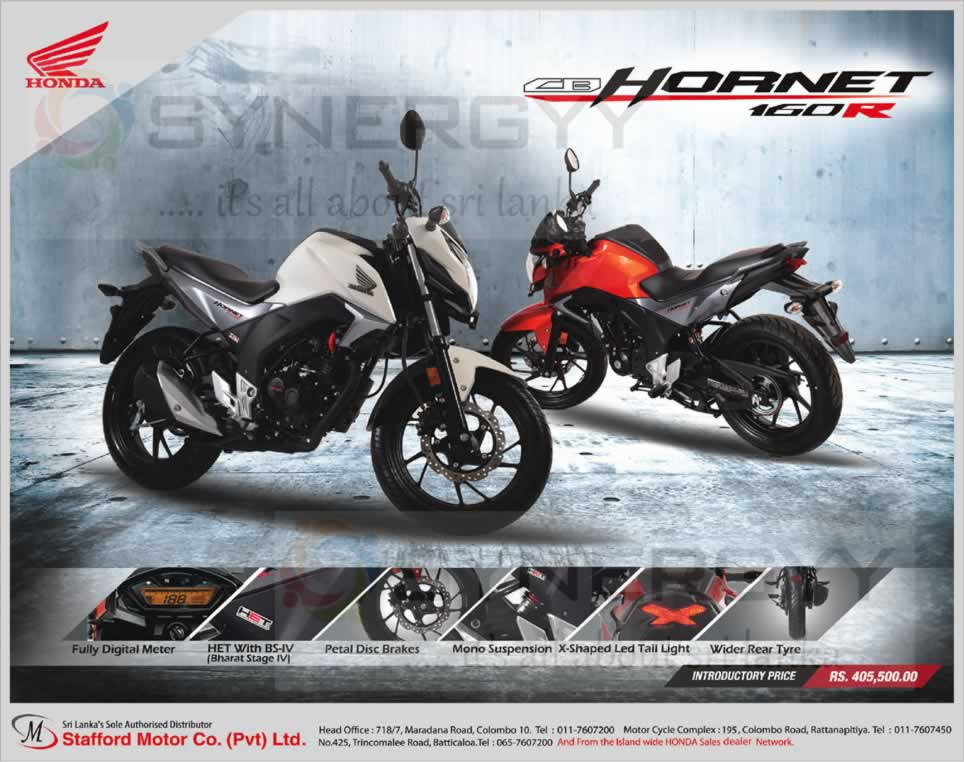Honda Cb Hornet 160r Now Available For Rs 405 500 00 In