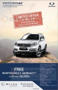 SsangYong Rexton W now for Rs. 7,950,000/- upwards