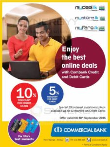 10% off for Commercial Bank Credit Card at mydeal.lk