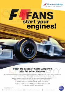 Kuala Lumpur Grand Prix 2016 F1 Race Holiday Package – travel till 6th October 2016