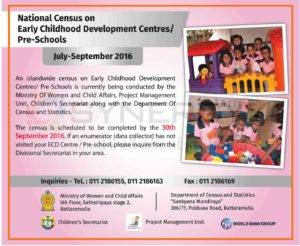 National Census on Early Childhood Development Centres/ Pre-Schools - July-September 2016