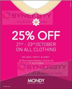 25% Off at Mondy from 21st to 23rd October 2016