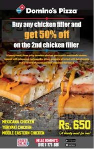 Buy Chicken Filler and get 50% off on 2nd Chicken Filler from Domino's Pizza