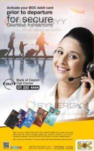 Call Band of Ceylon to activate your BOC debit card for overseas transactions