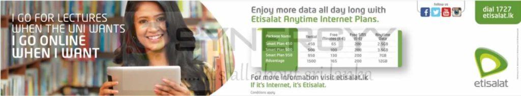 Etisalat Data mobile packages in Sri Lanka