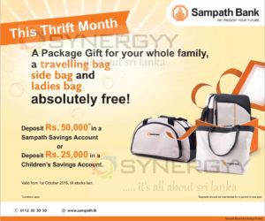 Free Bags from Sampath Bank for Every 50,000 Deposits – October 2016