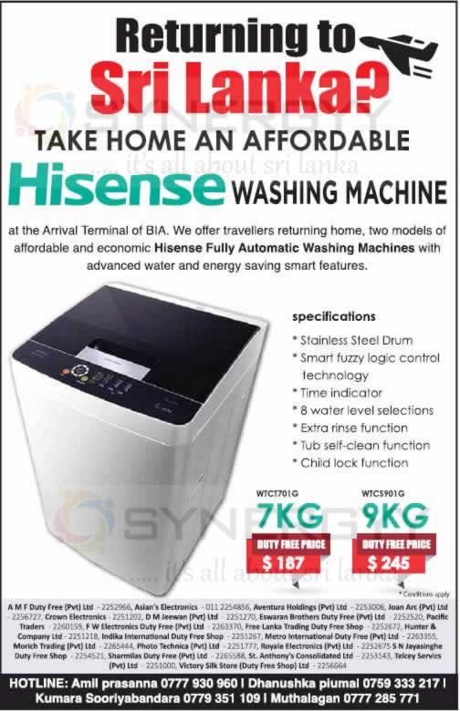 Hisense Washing Machine at Colombo Duty Free Shop for USD 187