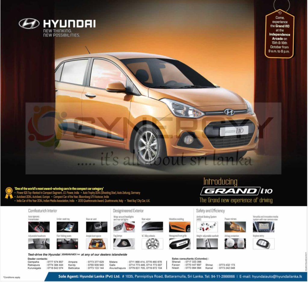 Hyundai Grand i10 hatchback car introduce in Sri Lanka