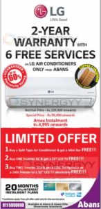 LG Air Conditioner for Rs. 99,900.00 on wards from Abans