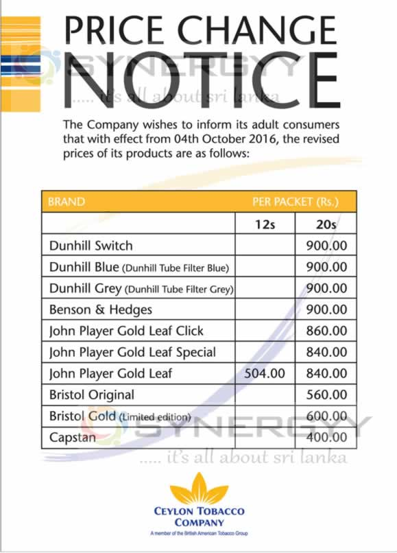New Cigarette Prices in Sri Lanka