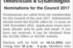Sri Lanka College of Obstetricians & Gynaecologists – Nominations for the Council 2017