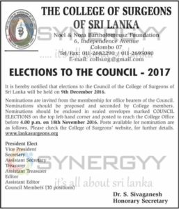 The College of Surgeons of Sri Lanka Elections to the Council - 2017