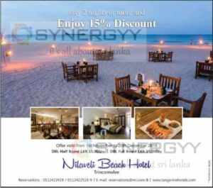 15% off at Nilaveli Beach Hotel for Booking more than 2 days – offer valid from 1st of Nov to 20th Dec 2016.