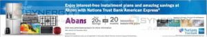 Discounts upto 20% and 20 Months Interest free Installment plan for Nations Trust American Express Credit Card – Till 31st December 2016