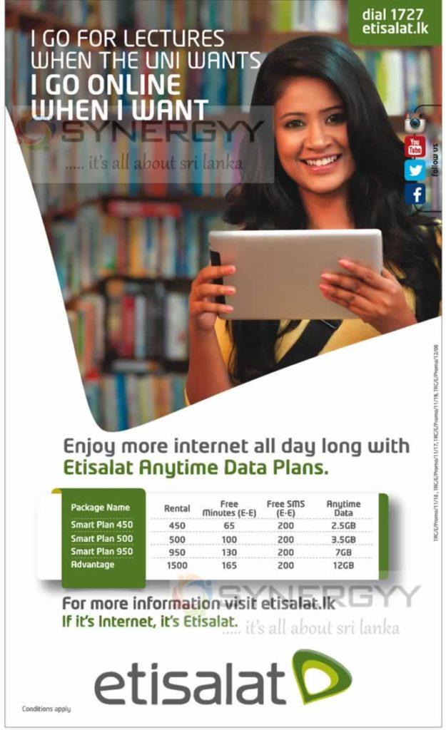 Etisalat Internet Packages in Sri Lanka