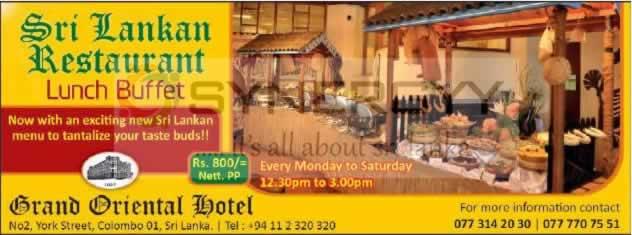 Grand Oriental Hotel – Sri Lankan Restaurant Lunch Buffet for Rs. 800/-