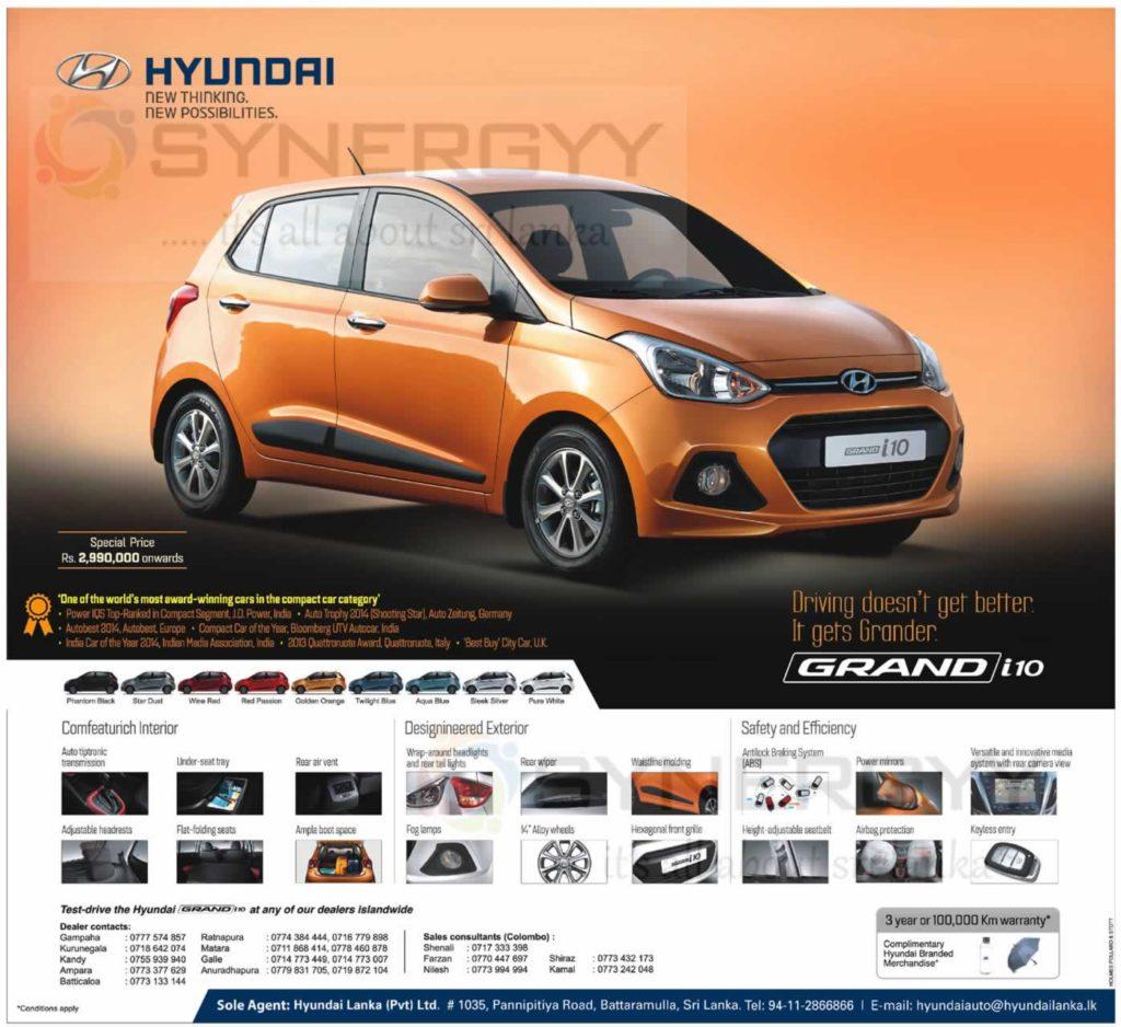 Hyundai Grand i10 Price in Sri Lanka – Rs. 2,990,000/- upwards