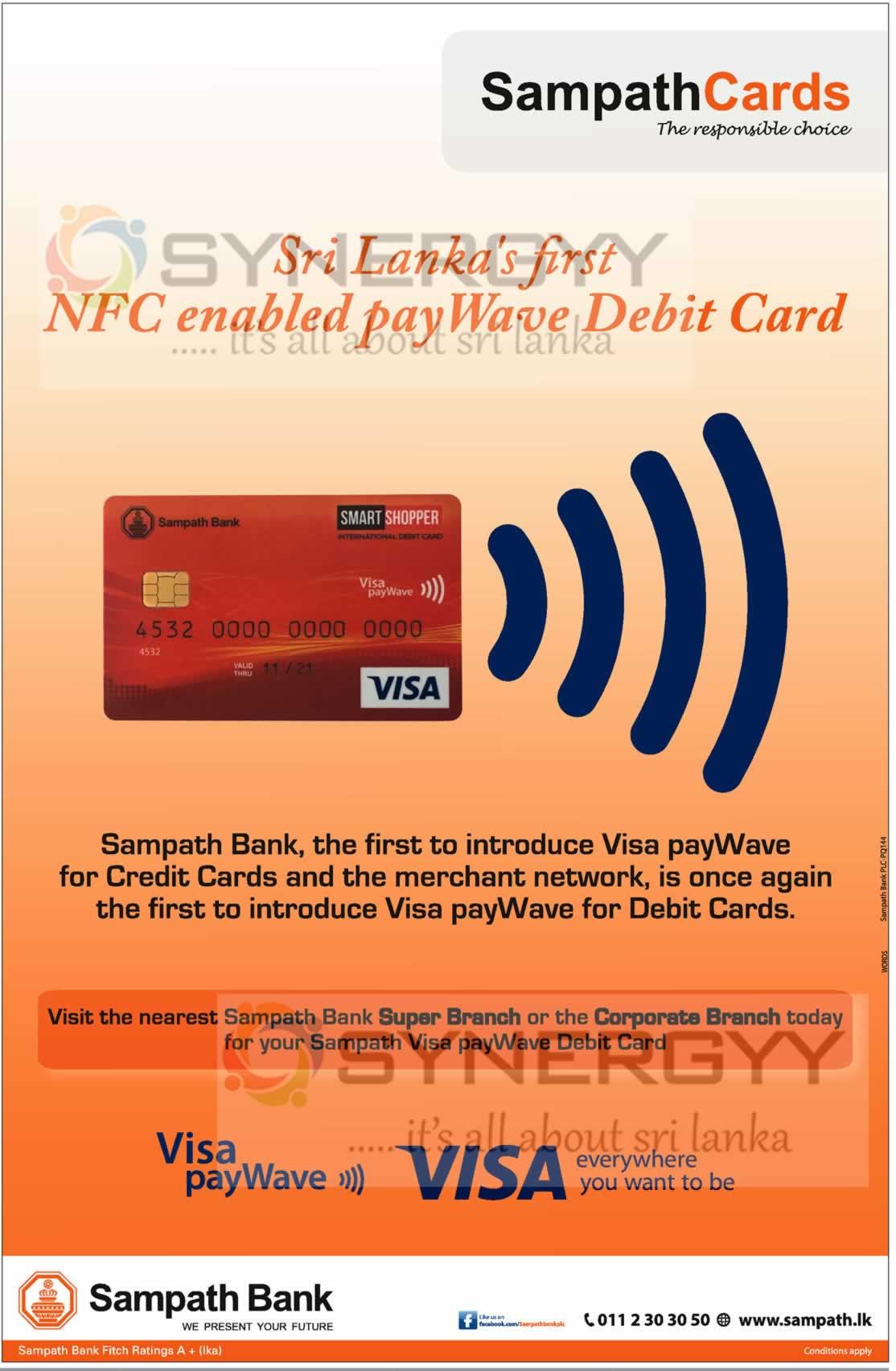 Sampath Bank Visa Paywave Debit Card Only From Sampath