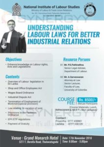 Understanding Labour Laws for Better Industrial Relations by National Institute of Labour Studies on 17th November 2016