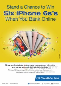Use Commercial Bank Online and Stand a Chance to Win 6 iPhone 6s's
