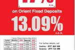 17% Interest rate for 60 Month Fixed Deposits from Orient Finance PLC