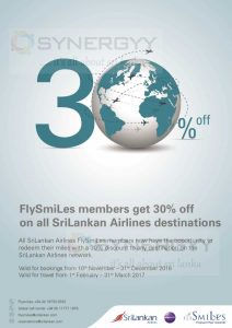 30% off from Sri Lankan Airlines for Flysmile Member
