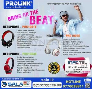 Prolink Headphone for sale from Sala Enterprises