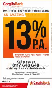 Cargills Bank 1 Year Fixed Deposit – 13% per Annum