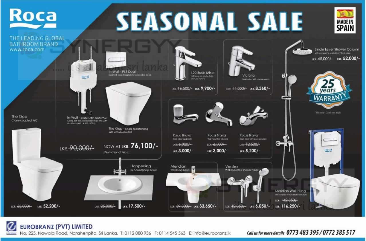 Roca seasonal sale doe bathroom fittings synergyy for Bathroom fittings sale