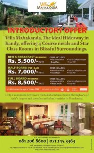 Villa Mahakanda Introductory Offer
