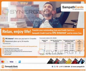 0% Interest rate for transfer outstanding payments of any Credit card up to 3 months by Samapth Banka