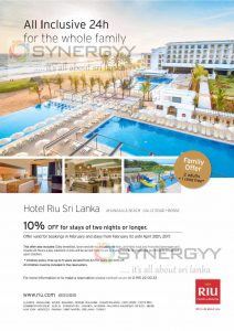 10% off the Booking made in Feb for Feb to April 2017 – RIU Hotel & Resort