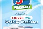 5 Years Warranty for Singer/ Sisil Washing Machine – Price Rs. 26,799/- upwards