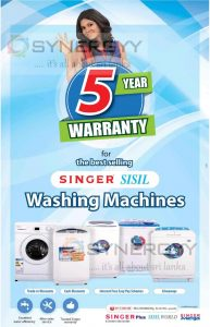 5 Years Warranty for Singer Sisil Washing Machine – Price Rs. 26,799- upwards
