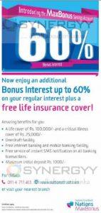 Max Bonus Saving Account – 60% Bonus Interest from Nations Trust Bank