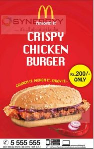 McDonalds Crispy Chicken Burger for Rs. 200- Only