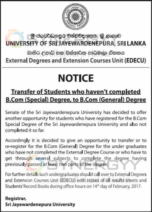 Transfer of Students who haven't completed B.Com (Special) Degree, to B.Com (General) Degree of Sri Jayewardenepura University