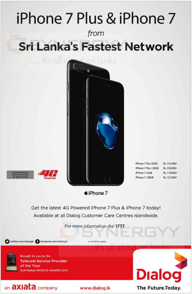 iPhone 7 from Dialog – Rs  119,900- upwards – SynergyY
