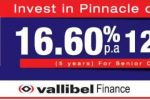 16.60% interest rate for 5 Years Fixed Deposits from Vallibel Finance