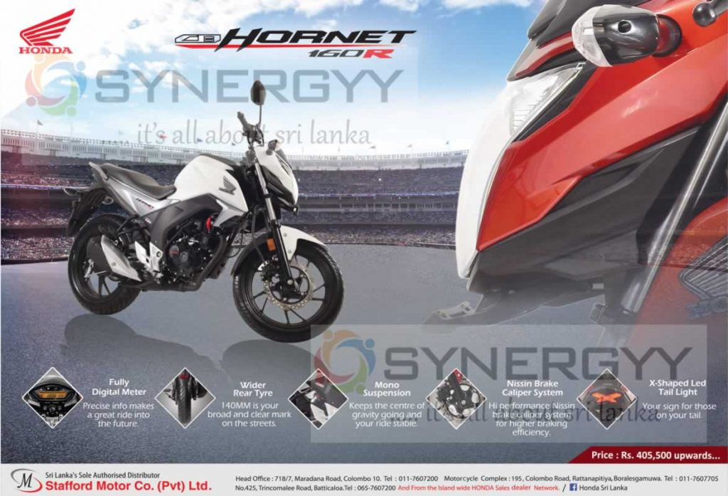 Honda CB Hornet 160R now in Sri Lanka; Price Starts from Rs. 405,500-
