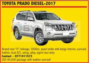 Brand new Toyota Prado Diesel-2017 now available in Sri Lanka for USD 40,000