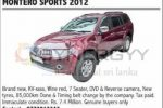 Montero Sports 2012 available for Sale; Rs. 7,400,000/-