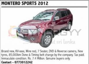 Montero Sports 2012 available for Sale; Rs. 7,400,000-