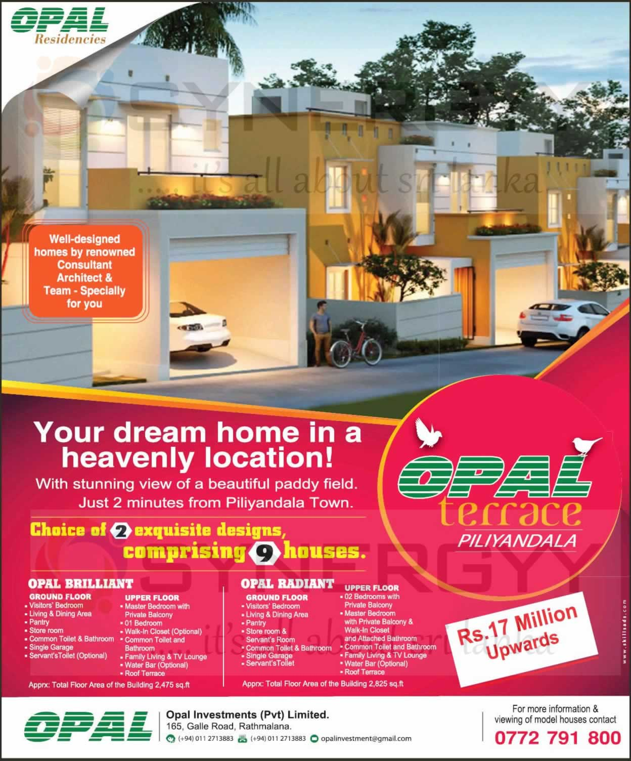 2500 sq ft house for rs 17 million upwards from opal