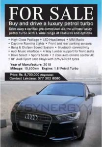 2015 Audi A3 1.8L Petrol for sale – Rs. 8.7 Million (Negotiable)