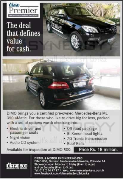 Mercedes-Benz ML 350 4Matic for Rs. 18 Million from DIMO