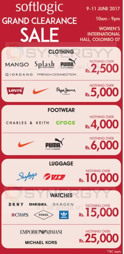 Softlogic Grand Clearance Sale – on 9th to 11th June 2017