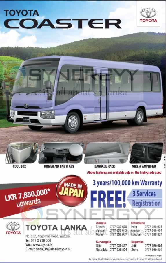 Brand New Toyota Coaster for Rs. 7,850,000 Upwards from Toyota Lanka